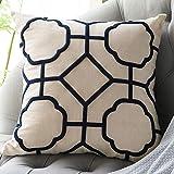 DOKOT Fundas de Cojin 50 x 50 cm Lino Soft Decorativa Cuadrado Fundas de Almohada Bordado Caso para Sofá Dormitorio Auto Geométrico Beige Azul Marino