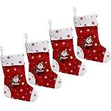 com-four® 4er Set XL Weihnachtsstiefel Santa aus Filz, mit Schlaufe am Schaft zum aufhängen (30 x 19 cm - 04 Stück)