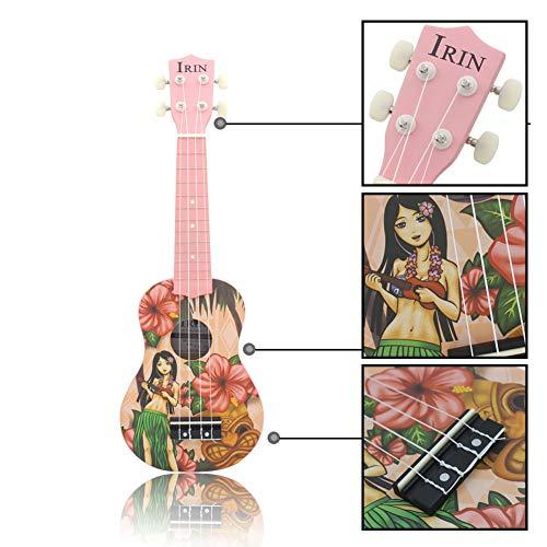 Milnnare ukulele Mini strumento per chitarra in legno da 21 pollici a 4 corde modello Flower Girl