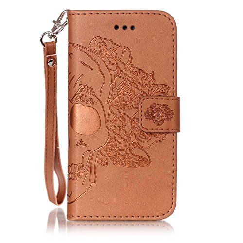 iPhone Case Cover Nouveau style pressé en relief fleurs Windchime motif rétro folio Flip Stand Wallet affaire avec une dragonne pour IPhone 7 ( Color : 6 , Size : IPhone 7 ) 3