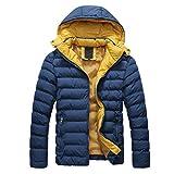 SODIAL (R) 2015 Uomo Cappotto Piumino di inverno cappotto Piumino da uomo caldo con cappuccio blu scuro XL