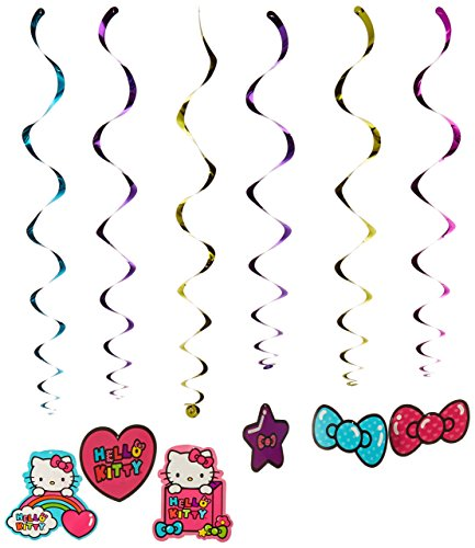 (Hello Kitty Rainbow-Folie Swirl Geburtstag Party Dekoration (12 Pack), Multi Farbe, 25,4 x 24,4 cm)