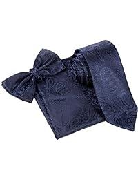 "Paisley Pattern Satin Bowtie, 3"" Tie & Pocket Square Hanky Set - Navy Blue"