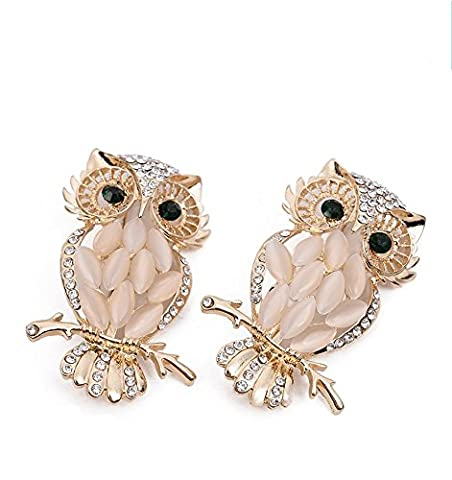 LOOKOUT Gold-tone Clear Rhinestone Crystal Owl Brooch Pin