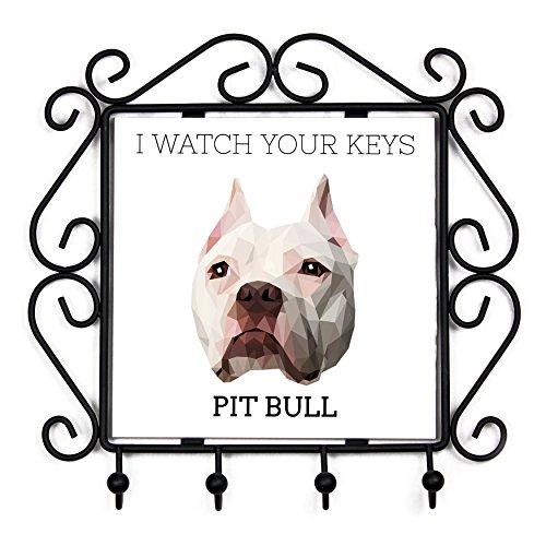 Pit Bull, Schlüsselaufhänger mit einem Bild eines Hundes, geometrische Sammlung