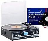 Q-Sonic Schallplattenspieler: 4in1-Plattenspieler mit Bluetooth, Digitalisier-Funktion und Software (Radio-Kassettenspie