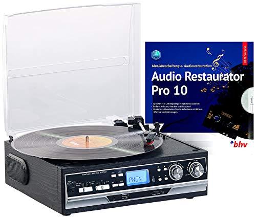 Q-Sonic USB Plattenspieler: 4in1-Plattenspieler mit Bluetooth, Digitalisier-Funktion und Software (Platten digitalisieren)