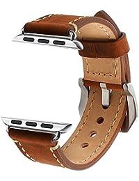 Apple Watch 42mm Correa, ZRO Vendimia Cuero Genuina Reemplazo Correa de Reloj con Seguro Cierre de Metal Hebilla para Apple iWatch Serie 2/ Serie 1, Marron