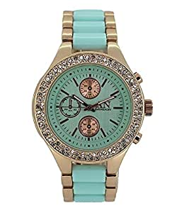AN London Ladies Womens Watch Rose Gold/Aqua plastic strap with decoritive dials and stones/crystals