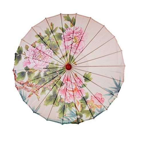 Baoblaze Regenschirm Sonnenschirm Deko Schirm Tanz Schirm, Chinesischer Stil, aus Bambus und Seidentuch - D