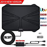 TV Aerial, Amplified HD Digital TV Aerial with 65+ Miles Range with Adjustable