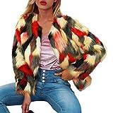 Manadlian Damen Parka Pelzmantel Kunstpelz Straußenfedern Weichen Pelzjacke Winter Jacke Flauschigen Faux Pelz Kurz Luxus Mantel Outwear
