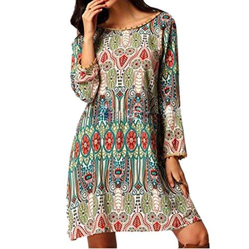 Internet Damen Kleid Retro (EU36(Asia M), Grün) (Bodysuit Kostüm Muster)