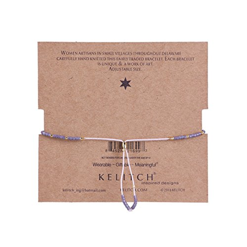 KELITCH Bohemian Armband Rocailles Perlen Handmade Mehrfarbig Zart Schnur Freundschaftsarmbänder - Lila
