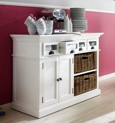 Albion Weiß lackiert Esszimmertisch Buffet Mahagoni mit Glas Front Schubladen und 2Rattan Körbe -