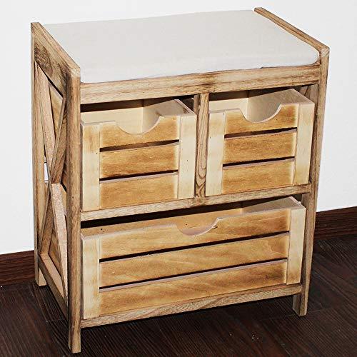 nxtbuy Aufbewahrungsbank aus Holz in Natur 45 x 27 x 50 cm - Vintage Truhenbank/Kommodenschrank mit...