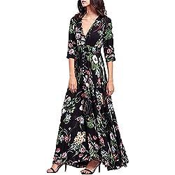 Vestido largo Amlaiworld Mujer Boho vestido de noche Maxi playa Sundress (Tamaño Asiático: XL, Multicolor A)