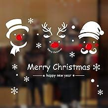 Pegatinas de Navidad arbol fiesta extraíbles adorable Papá Noel nieve alce colores pegatina de pared etiqueta engomada de cristal (A)