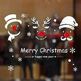 Natale Adesivi Display Rimovibile Natale Addobbi Murali Fai da te Finestra Decorazione Vetrina Adesivi e murali da parete Sticker decorativi (2 fogli X 30 * 45cm) (Bianca)