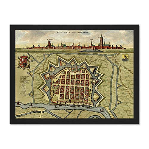 Doppelganger33 LTD Maps Vintage City Plan Nieuport Belgium Skyline Art Large Framed Art Print Poster Wall Decor 18x24 inch Supplied Ready to Hang