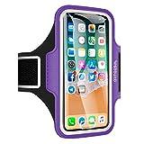 Arteesol Sport Armband geeignet für iPhone X / 8/7/6 / Plus / 5, Galaxy S8, LG, Moto, Handytasche Displayschutzfolie für Training, Lila