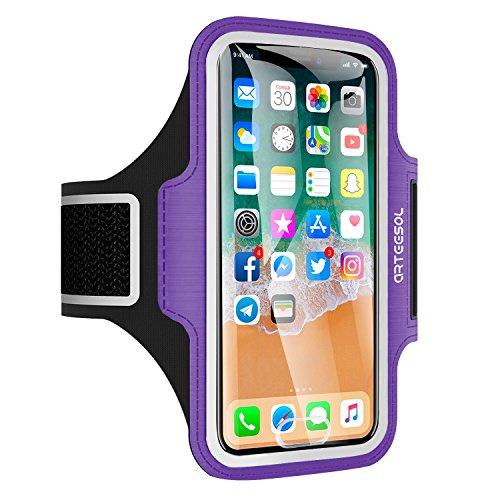 Arteesol Sport Armband geeignet für iPhone X / 8/7/6 / Plus / 5, Galaxy S8, LG, Moto, Handytasche Displayschutzfolie für Training, Lila (Fall Iphone Kartenhalter 5s)