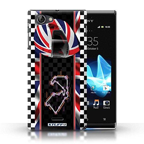 Kobalt® Imprimé Etui / Coque pour Sony Xperia J (ST26i) / USA/Austin conception / Série F1 Piste Drapeau UK/Silverstone