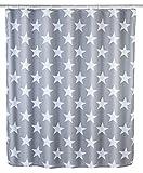 Wenko 22494100 Anti-Schimmel Duschvorhang Stella, Anti-Bakteriell, wasserabweisend, waschbar, schimmelresistent mit 12 Duschvorhangringen, 100% Polyester, 180 x 200 cm, grau