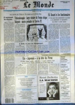 MONDE (LE) [No 14112] du 12/06/1990 - TCHECOSLOVAQUIE - LARGE VICTOIRE DU FORUM CIVIQUE - BULGARIE - SUCCES PROBABLE DE L'ANCIEN PC PAR SYLVIE KAUFFMANN - ET MAINTENANT, LES REFORMES... - M. ROCARD ET LES FONCTIONNAIRES PAR MICHEL NOBLECOURT ET JEAN-MICHEL NORMAND - UN JAPONAIS A LA TETE DU PEROU PAR MARCEL NIEDERGANG - PREPARATION DU CONGRES DU PC SOVIETIQUE - FORCE UNIE - LA COUR DE CASSATION ET LES LOIS - UN CATECHISME NATIONAL EN FRANCE - IMPOT SUR LA FORTUNE - SOCIETE DES