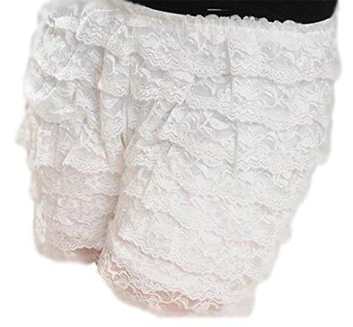 A-Express Damen 8 Schicht Rüschenhöschen Sommer Shorts Safety Rock Spitze Unterwäsche Hot pants Kurz Weiß