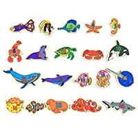 Refrigerator Stickers Magnetic Sea Animals Fish for Educational Fun Refrigerator Fish for Toddlers Magnets Fridge Educating Kids Magnetic Stickers(with Magnetic)