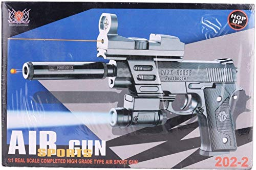 Trade Globe AIR Sports 202 - 2 - Gun with Laser and Torch - Action Toy Full Set with Bullet, Laser, Screw Driver, Silencer and Sun Glass (Black)