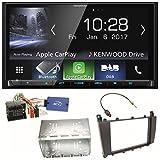 Kenwood DMX-7017DABS Bluetooth Carplay Android Auto USB MP3 Digitalradio Autoradio Einbauset für Mercedes C-Klasse W203 CLC CL203 S203