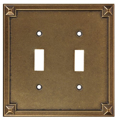 Stanley National Hardware V8061Prairie Double Switch Plate in Used Antik Bronze (Plate Bronze Wall Double Switch)