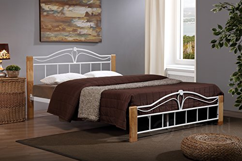 Thiago Metal Bed Frame Wooden Beech and White Modern Small Double King Size Contemporary Bedroom Furniture (5FT King Size)