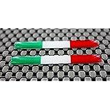 Italie Chrome Outline Large Petit Drapeau Ensemble en forme de dôme 3d Autocollant