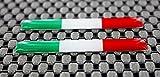 Italien Flagge 3D Domed Aufkleber Set (Chrom outline)