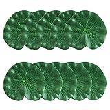 CODIRATO 10 Stück 18CM Künstliches Lotusblatt Teichpflanzen Floating Foam Lotus