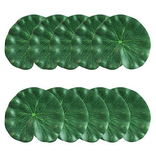 CODIRATO 10 Stück Künstliches Lotusblatt 18CM Aquarium Lotusblatt Teich Dekoration Schwimmende Künstliche Pflanze für Garten,Pool,Teich (Grün) 18 Pflanzen