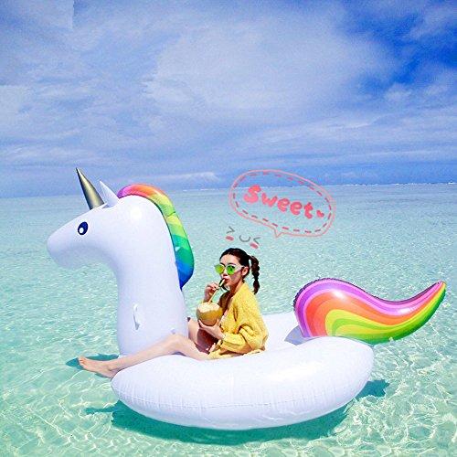 Missley Großes aufblasbares Einhorn Floating- Floatie Ride On Rideable Blow Up Sommer Spaß Pool Spielzeug Liege Floatie Raft für Kinder & Erwachsene