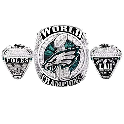 WANZIJING Anillos de Hombre, Philadelphia Eagles Replica Ring Super Bowl Campeonato Anillos de aleación para joyería Regalo de tamaño Coleccionable 8-11,10
