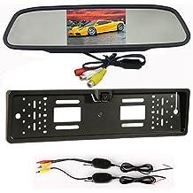 Mvpower 4.3'' Specchietto Auto Monitor LCD TFT Per Vista Posteriore Con Telecamera Retromarcia Porta Targa, Sensore Di Parcheggio Senza Filo, Videocamera Wireless Con Linee A Distanza