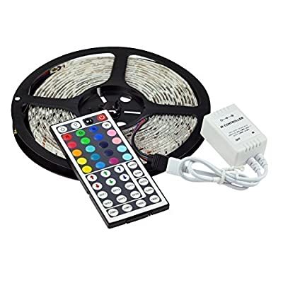 MTZ 5m 16.4ft RGB Color Changing SMD 5050 Led Strip Lighting Kit, 300leds SMD 5050 Waterproof Flexible Led Strip Lights Kit, with 44keys Remote