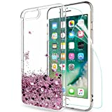 LeYi Coque iPhone 7 Plus 8 Plus Etui avec Film de Protection écran, Fille Personnalisé Liquide Paillette Transparente 3D Silicone Gel Antichoc Kawaii Housse pour Apple 7 Plus 8 Plus Or Rose
