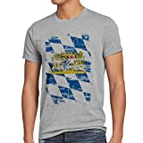 Bayern Vintage Flagge Herren T-Shirt München Oktoberfest Fussball FC, Farbe:Grau Meliert, Größe:5XL