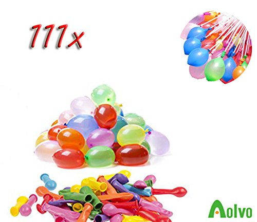 AOLVO 111 Wasserbomben Selbstschließend in 50 Sekunden | Wasserbomben Luftballons Klein für Sommerurlaub, Geburtstagsfeier, Wasser-Bombe/Kampf-Selbstschließend Ohne Knoten, Schnell und Einfach (Stück Werfen 4 Mini)