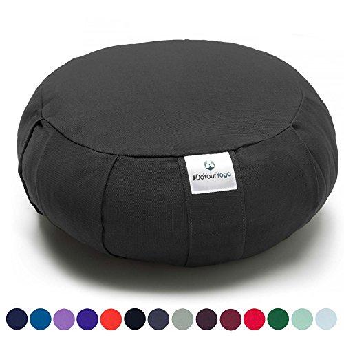 Coussin Zafu »Moogli« / Coussin de méditation de yoga classique ou coussin de yoga / 100 % coton / 35 cm x 15 cm / Disponible dans de nombreuses couleurs magnifiques / Noir Profond