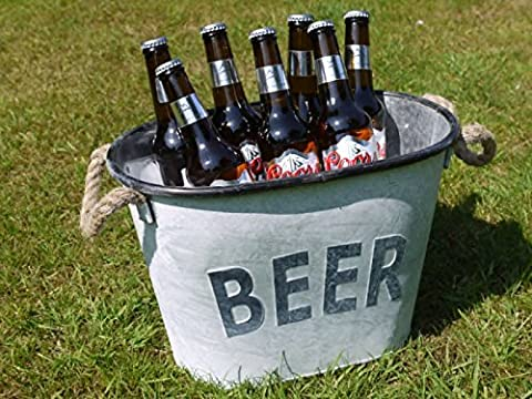 Large Metal Drinks Beer Tub Champagne Wine Bottle Holder Ice Cooler Bucket 36cm