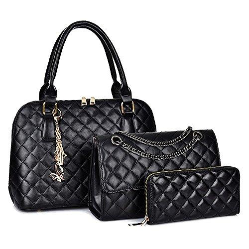 Handtaschen Damen Leder Pu Handtaschen mit Geldbörse Schultertaschen Gesteppte Handtaschen Kette Aus Leder 3 Stück Set Schwarz