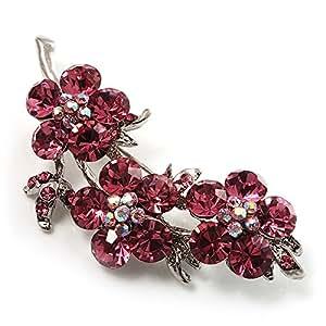 Broche Fleur Cristal Swarovski (Argent& Rose)